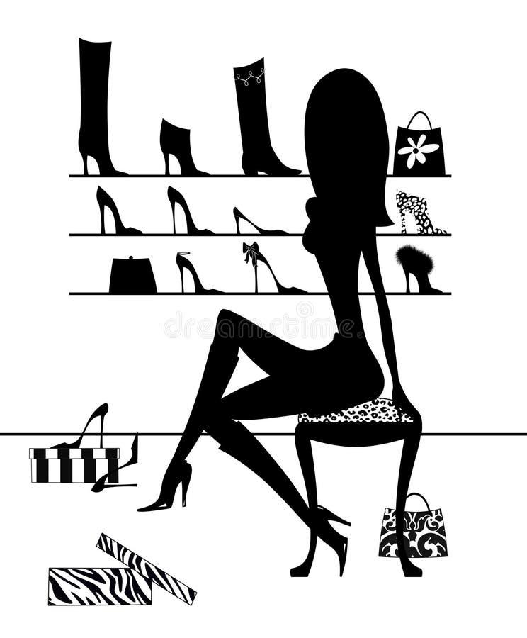 Silhouetmeisje die op Schoenen proberen stock illustratie