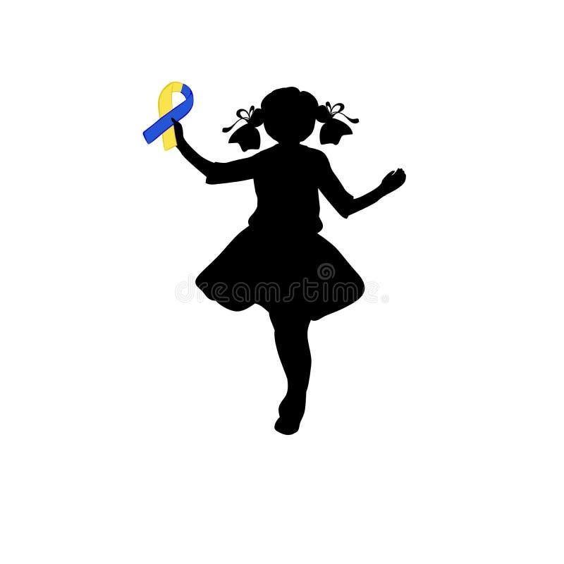 Silhouetmeisje met geel blauw lint Wereld onderaan Syndroomdag royalty-vrije illustratie