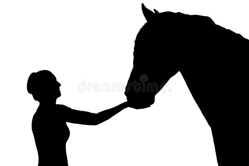 Silhouetmeisjes en paarden vector illustratie