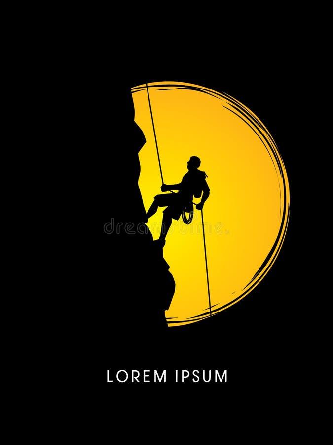 Silhouetmens die op een klip beklimmen vector illustratie