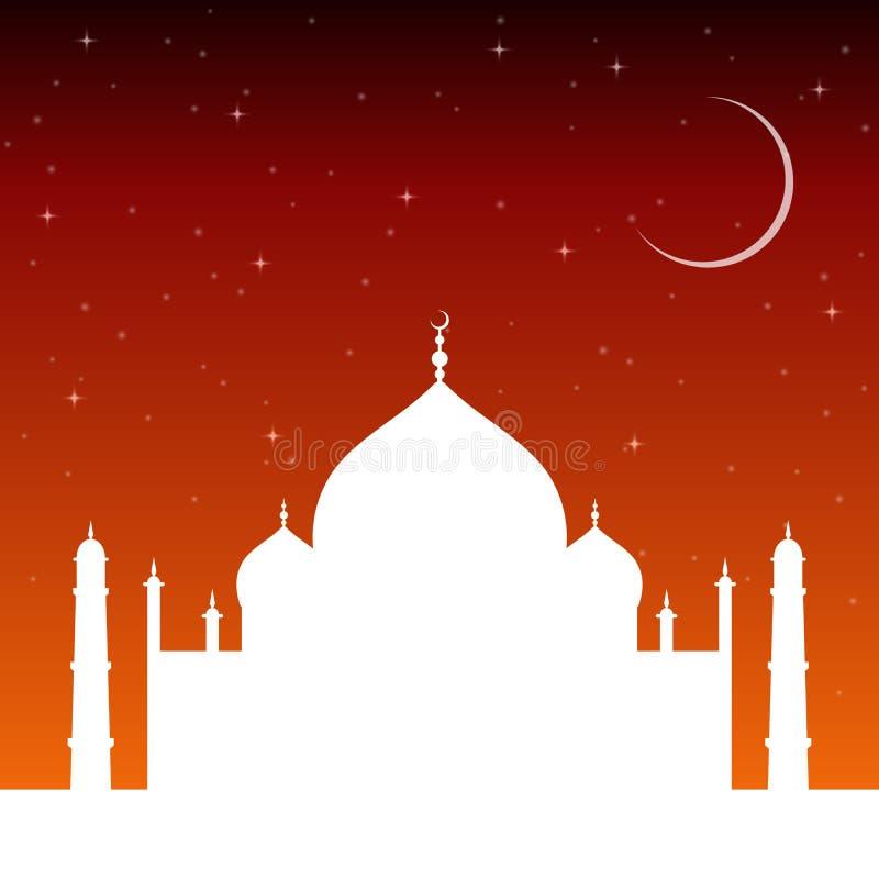 Silhouetmoskee bij zonsondergang met sterren en de toenemende maan De architectuur van de islamgodsdienst stock illustratie