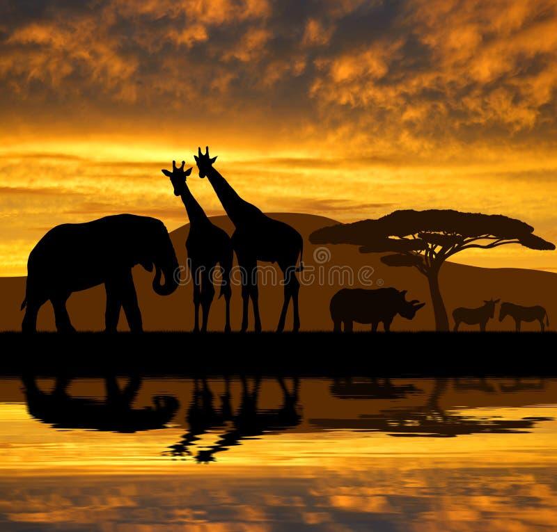 Silhouetolifant, giraffen, rinoceros en zebras stock illustratie