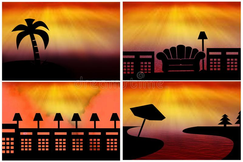 Silhouetpictogrammen royalty-vrije illustratie
