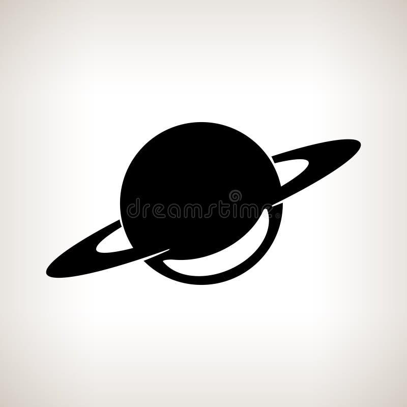 Silhouetplaneet Saturn op een lichte achtergrond royalty-vrije illustratie