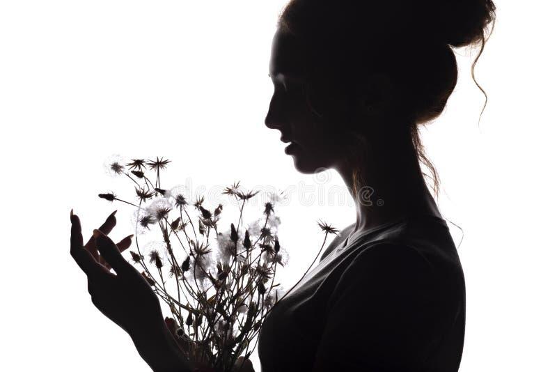 Silhouetportret van een mooi meisje met een boeket van paardebloemen, het profiel van de gezichtsvrouw op een wit geïsoleerde ach stock afbeeldingen