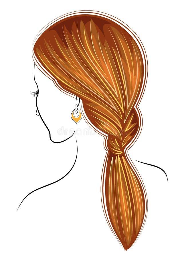 Silhouetprofiel van het hoofd van een leuke dame Het meisje toont de vrouwelijke kapselvlecht op middelgroot en lang haar Geschik stock illustratie