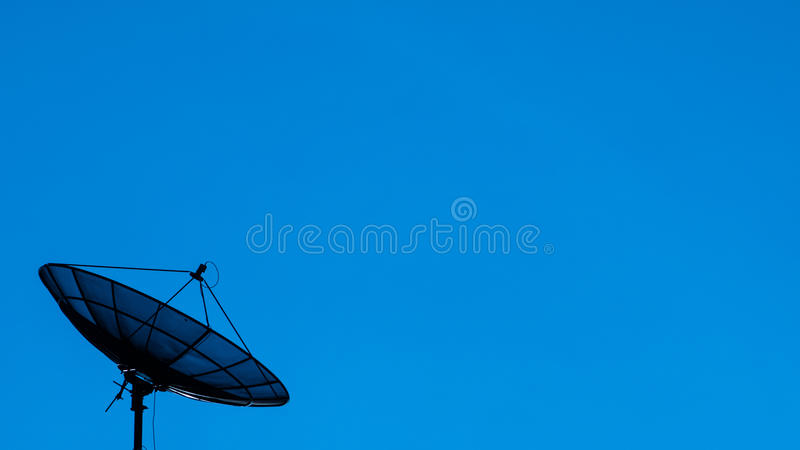 Silhouetsatelliet royalty-vrije stock fotografie
