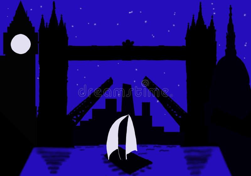 Silhouetstad van Londen bij nacht stock foto