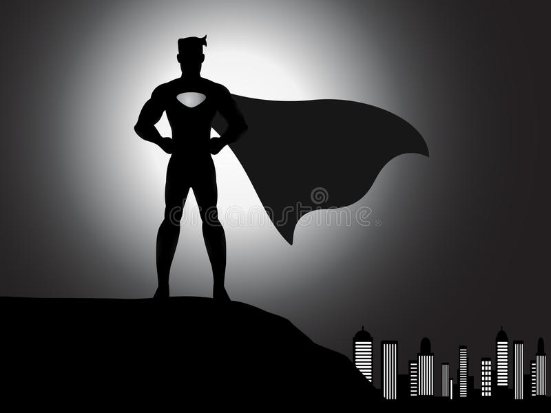 Silhouetsuperhero in de stad royalty-vrije illustratie