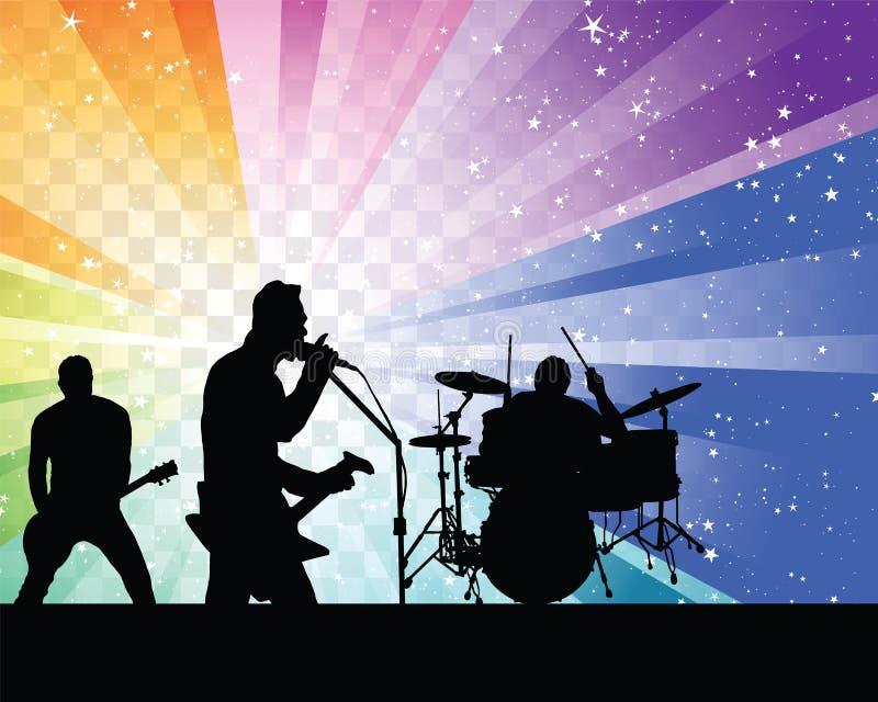Silhouett рок-группы иллюстрация вектора