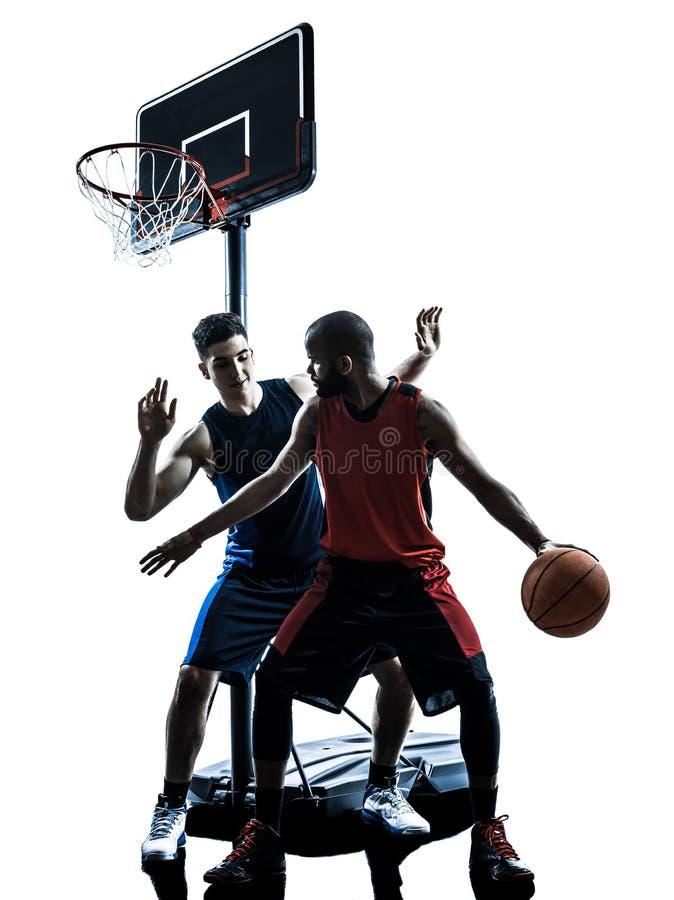 Silhouett de ruissellement d'homme caucasien et africain de joueurs de basket photo stock