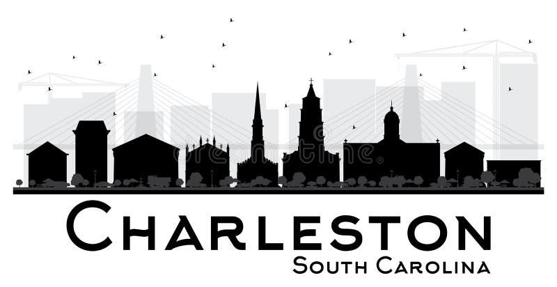 Silhouett preto e branco da skyline de Charleston South Carolina City ilustração do vetor