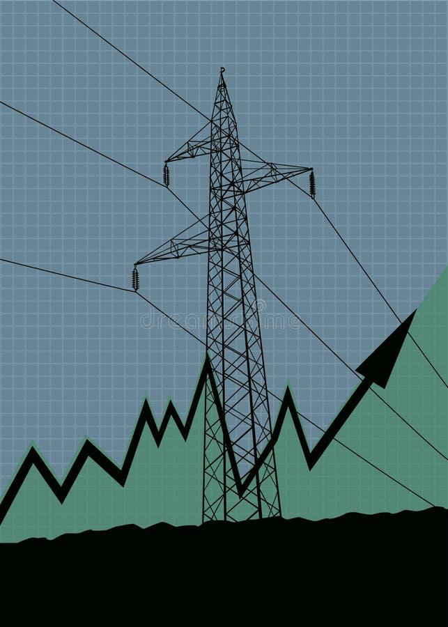 Silhouette à haute tension de lignes électriques illustration stock