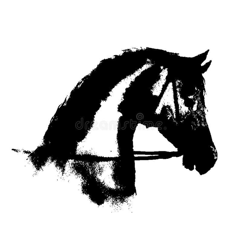 Silhouette à l'encre noire de tête de cheval avec le frein de sport équestre sur le blanc illustration de vecteur