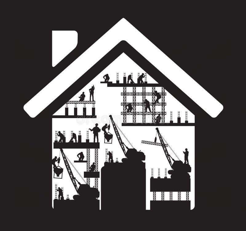 Silhouette à la maison de travailleur de la construction d'icône de vecteur à illustration libre de droits