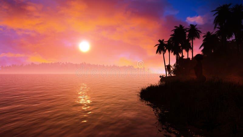 Silhouette épique de coucher du soleil d'îles tropicales illustration stock