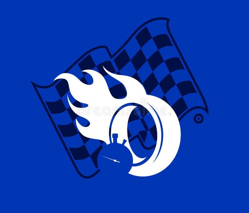Silhouette горящее колесо и checkered флаг, иллюстрация вектора предпосылки гонок бесплатная иллюстрация