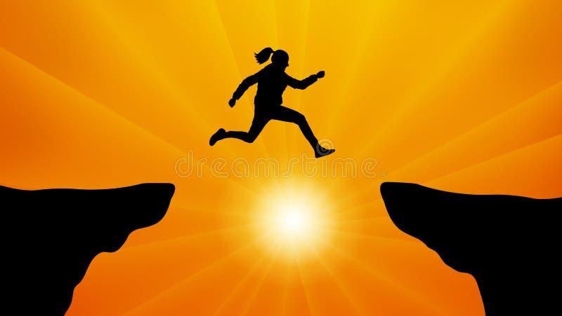 Silhouette девушка скача над зазором на заходе солнца иллюстрация штока
