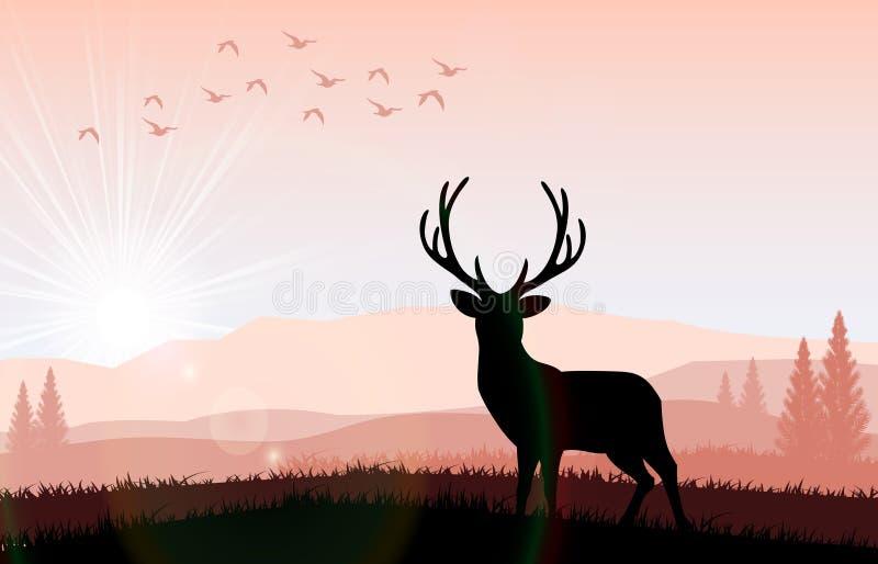 Silhouette олень подавать в ярком заходе солнца иллюстрация вектора