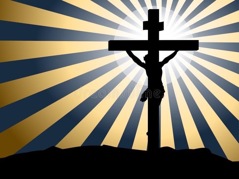 Silhouette распятие Иисуса против лучей предпосылки света иллюстрация вектора