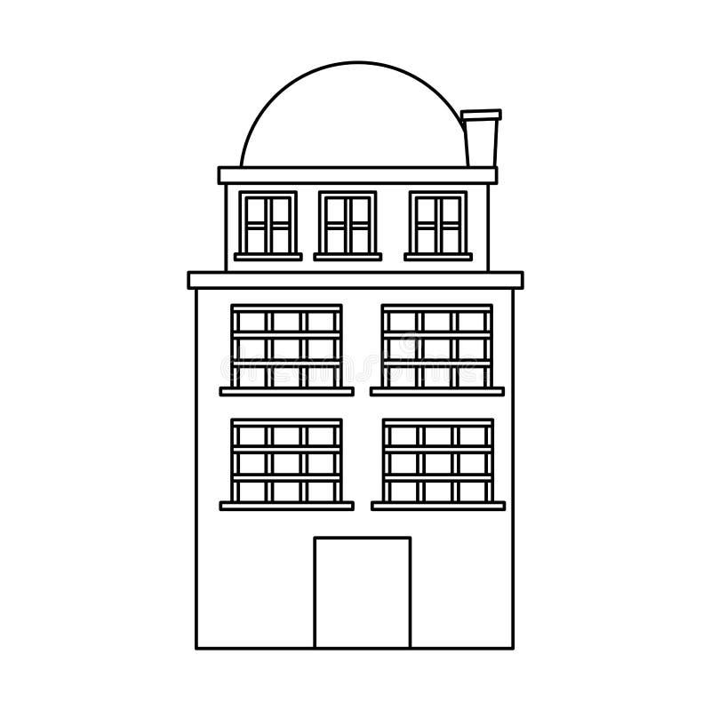 silhouette резиденция строения с 3 полами и террасами бесплатная иллюстрация