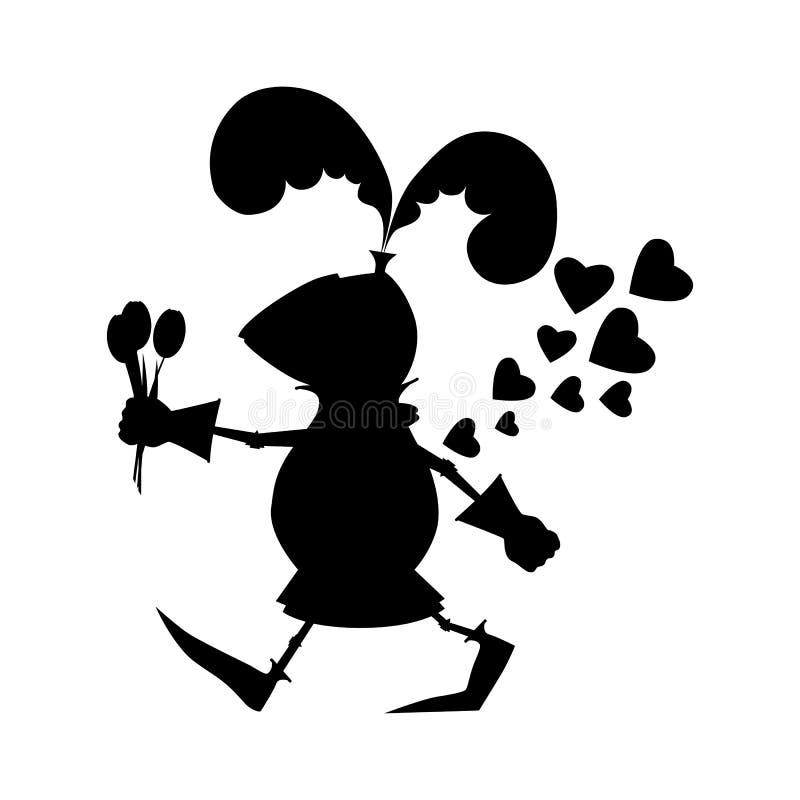 Silhouette смешной рыцарь с цветками на день валентинки иллюстрация вектора