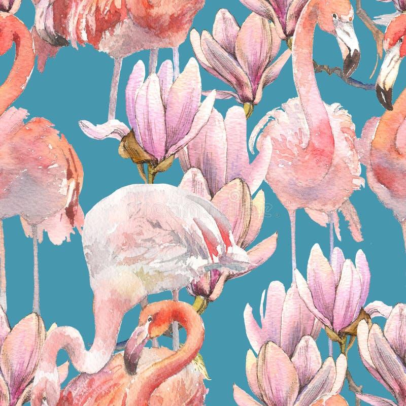 Silhouette троповые экзотические птицы фламинго животных и обои магнолии Безшовный цветочный узор от состава  иллюстрация штока