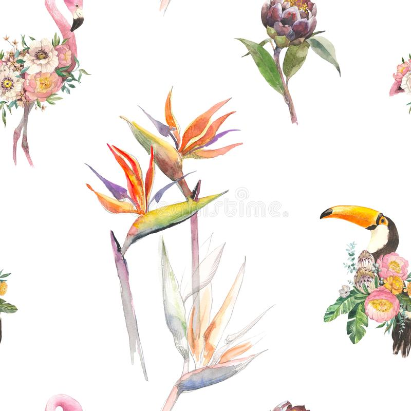 Silhouette троповый экзотический фламинго птиц животных и toucan в обоях завода джунглей Безшовный цветочный узор от бесплатная иллюстрация