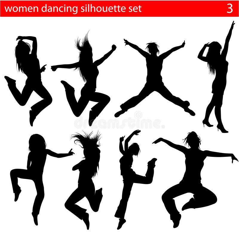Silhouette 2 de femmes de danse illustration stock