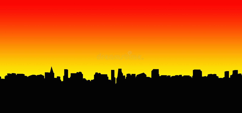 Silhouette 2 de ville photos libres de droits