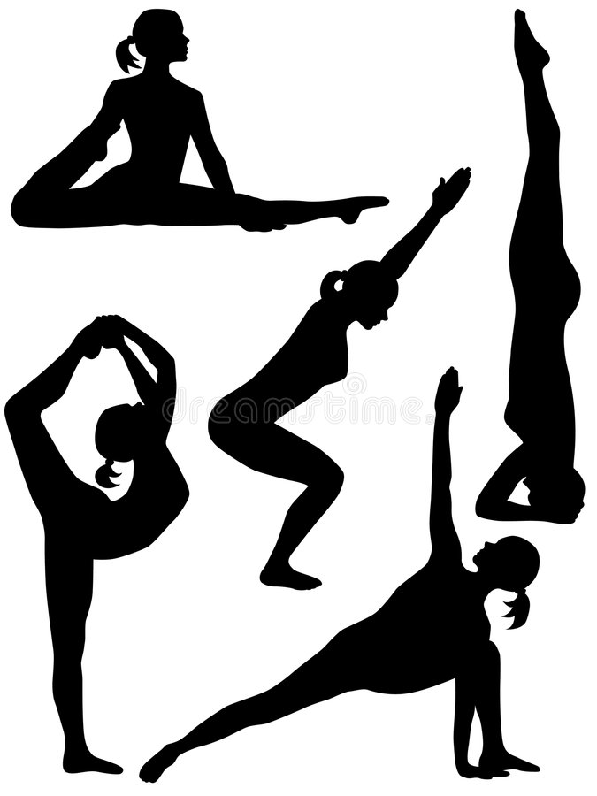 Silhouette 5 de yoga illustration de vecteur