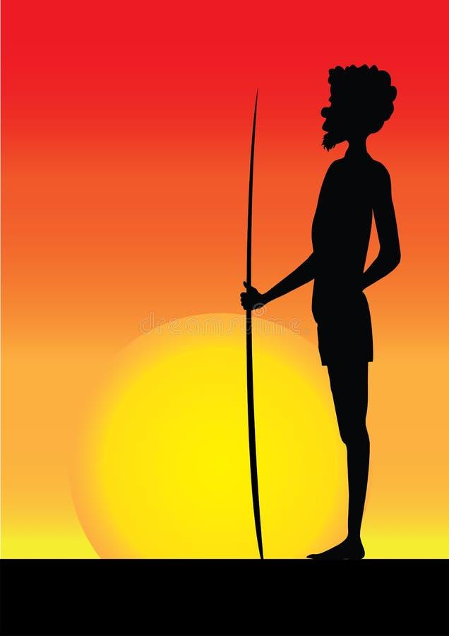 Silhouette of aborigine man in the sunset. Silhouette of one aborigine man in the sunset vector illustration