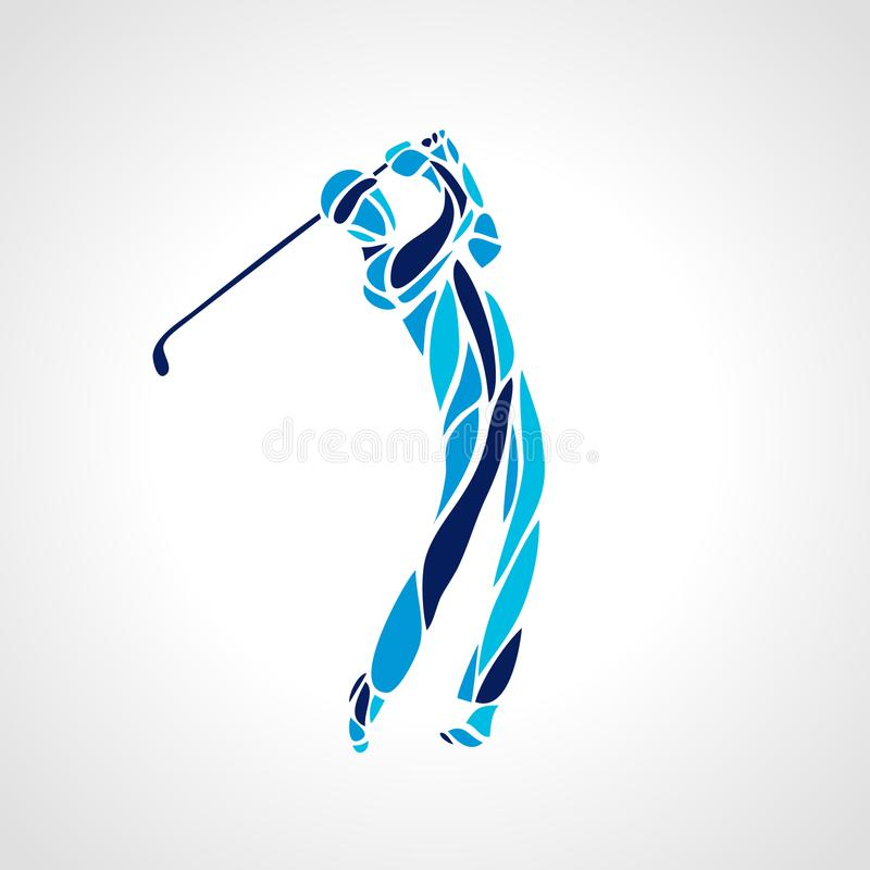 Silhouette of abstract golf player. Vector eps10. Golf Sport Silhouette of Golfer finished hitting Tee-shot stock illustration