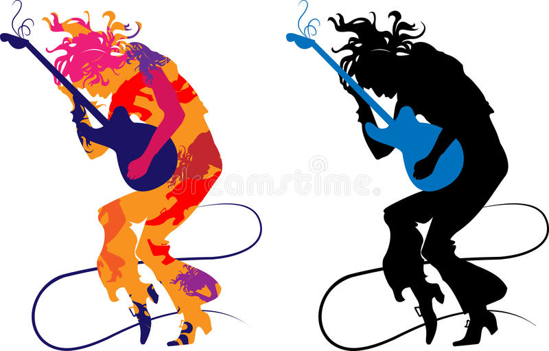 Silhouette abstract guitarist. On a transparent background, playing on e-guitar vector illustration