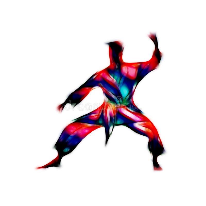 Silhouette abstraite d'arts martiaux sur le fond blanc illustration stock