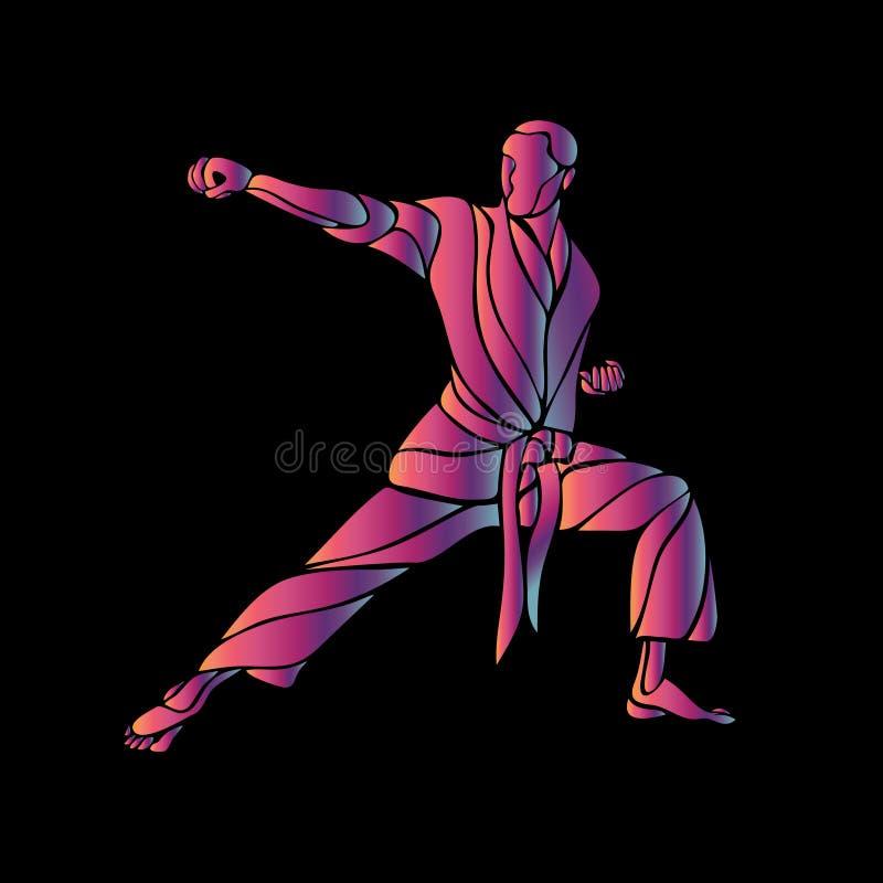 Silhouette abstraite d'arts martiaux sur le fond noir Vecteur illustration stock