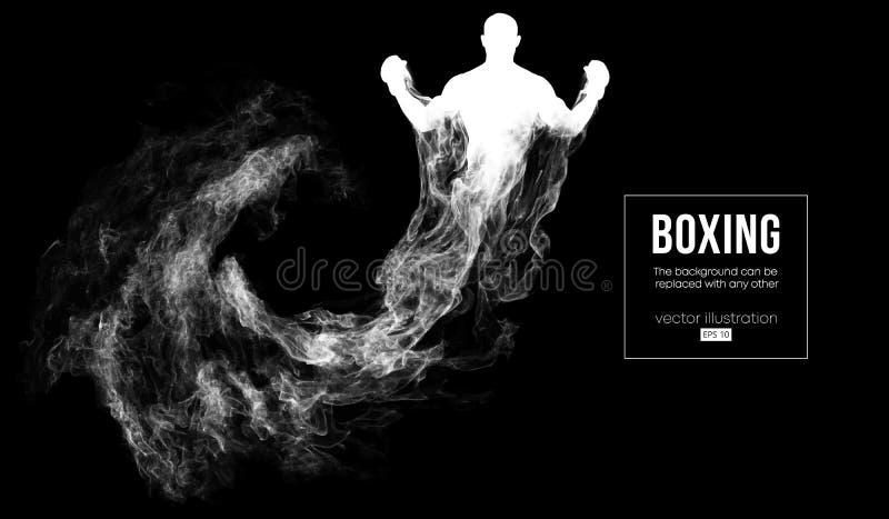 Silhouette abstraite d'un boxeur, Muttahida Majlis-e-Amal, combattant d'ufc sur le fond foncé et noir Le boxeur est gagnant Illus illustration de vecteur