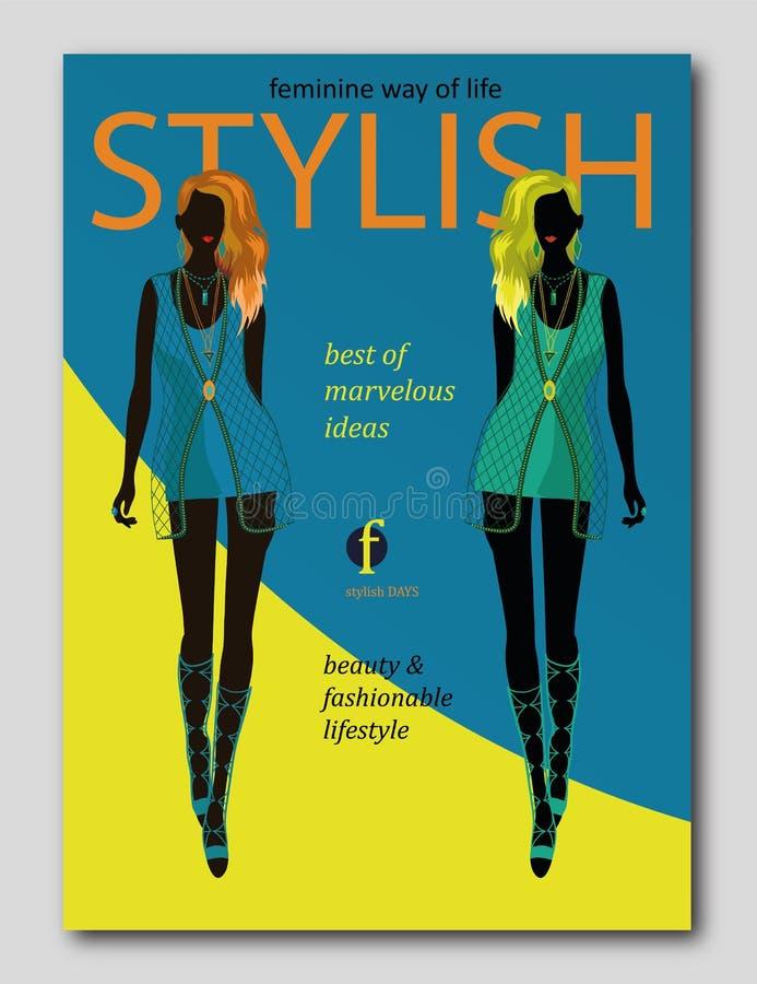 Silhouette abstraite de femmes dans le style à la mode Conception de couverture de revue de mode illustration libre de droits