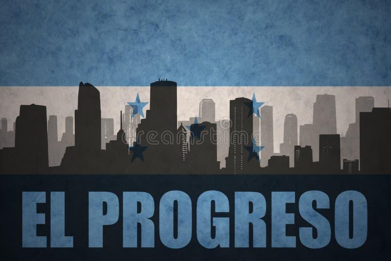 Silhouette abstraite de la ville avec l'EL Progreso des textes au drapeau du Honduras de vintage illustration stock