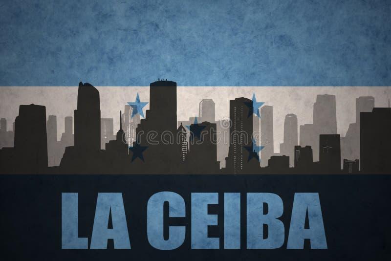 Silhouette abstraite de la ville avec le Ceiba de La des textes au drapeau du Honduras de vintage illustration libre de droits
