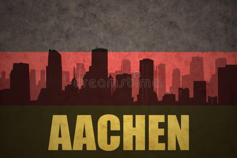 Silhouette abstraite de la ville avec le texte Aix-la-Chapelle au drapeau d'Allemand de vintage illustration stock