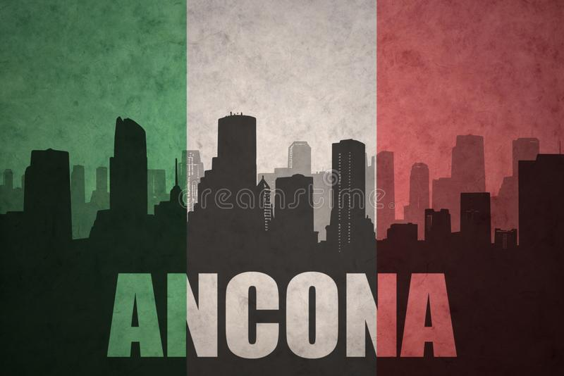 Silhouette abstraite de la ville avec le texte Ancona au drapeau d'Italien de vintage illustration de vecteur