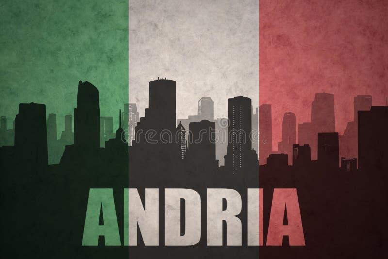 Silhouette abstraite de la ville avec le texte Andria au drapeau d'Italien de vintage illustration libre de droits