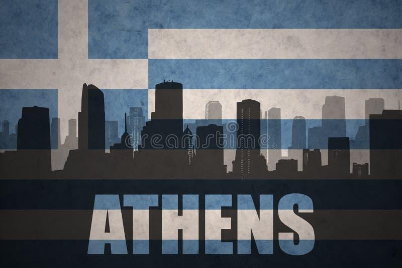 Silhouette abstraite de la ville avec le texte Athènes au drapeau de la Grèce de vintage illustration libre de droits