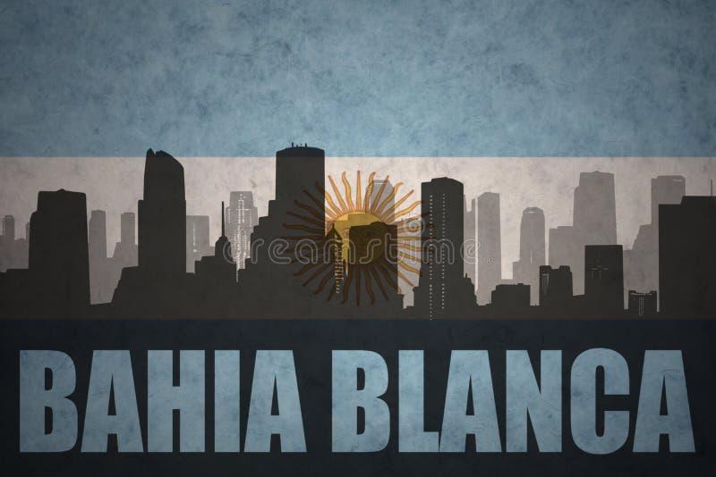 Silhouette abstraite de la ville avec le texte Bahia Blanca au drapeau d'Argentin de vintage illustration de vecteur