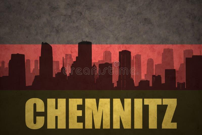 Silhouette abstraite de la ville avec le texte Chemnitz au drapeau d'Allemand de vintage illustration libre de droits