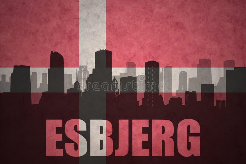 Silhouette abstraite de la ville avec le texte Esbjerg au drapeau du danois de vintage illustration stock