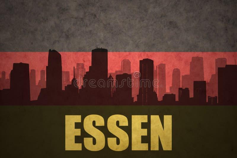 Silhouette abstraite de la ville avec le texte Essen au drapeau d'Allemand de vintage illustration libre de droits