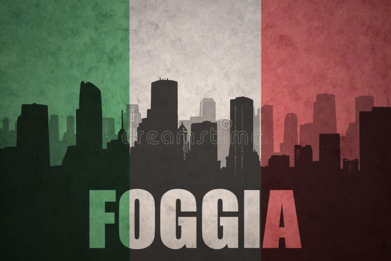 Silhouette abstraite de la ville avec le texte Foggia au drapeau d'Italien de vintage illustration de vecteur