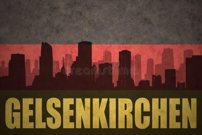Silhouette abstraite de la ville avec le texte Gelsenkirchen au drapeau d'Allemand de vintage illustration libre de droits